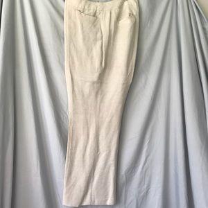 Lane Bryant Linen Wide Leg Pants Cream Sz 16 EUC